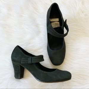 Antia Anthropologie Black Suede Mary Jane Heels